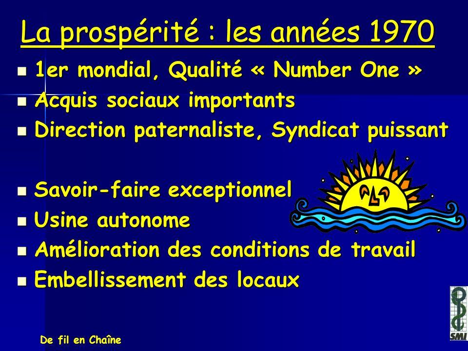 La prospérité : les années 1970 1er mondial, Qualité « Number One » 1er mondial, Qualité « Number One » Acquis sociaux importants Acquis sociaux impor