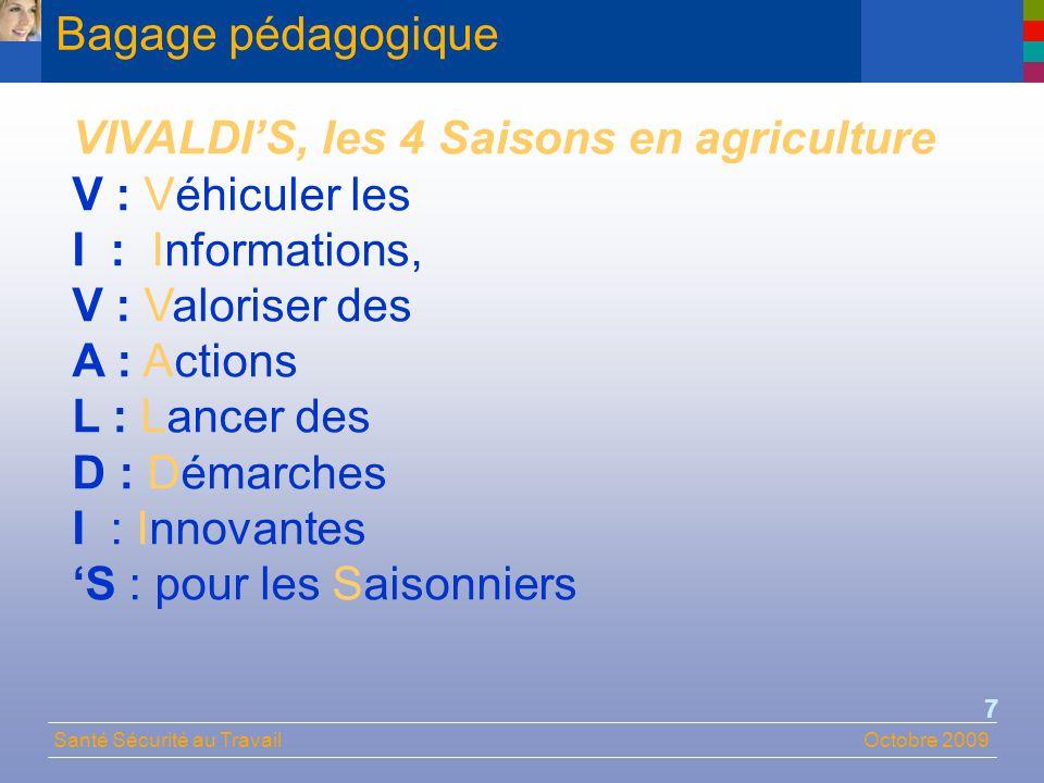 Santé Sécurité au TravailOctobre 2009 18 Caractéristiques de lemploi saisonnier Typologie des emplois saisonniers (groupes homogènes)