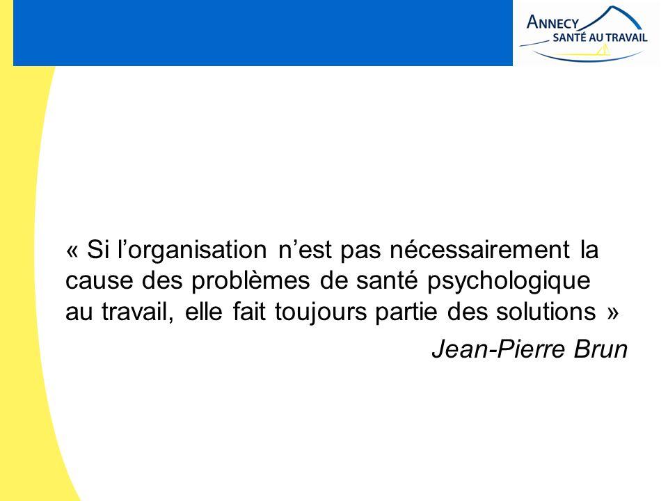 « Si lorganisation nest pas nécessairement la cause des problèmes de santé psychologique au travail, elle fait toujours partie des solutions » Jean-Pi
