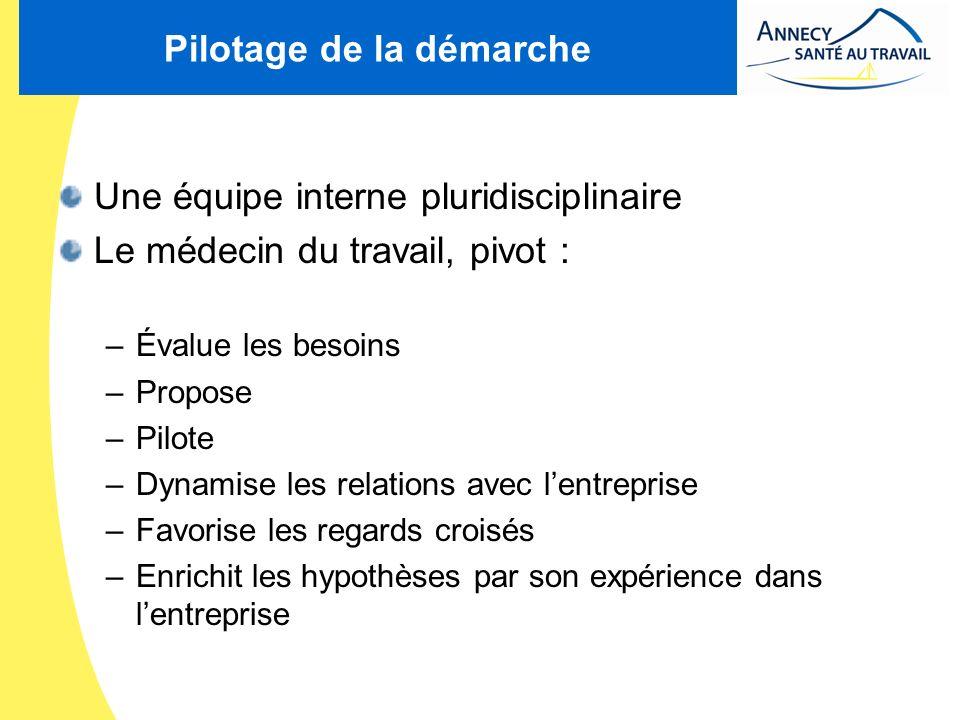 Pilotage de la démarche Une équipe interne pluridisciplinaire Le médecin du travail, pivot : –Évalue les besoins –Propose –Pilote –Dynamise les relati
