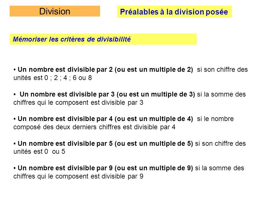 Division Préalables à la division posée Mémoriser les critères de divisibilité Un nombre est divisible par 2 (ou est un multiple de 2) si son chiffre