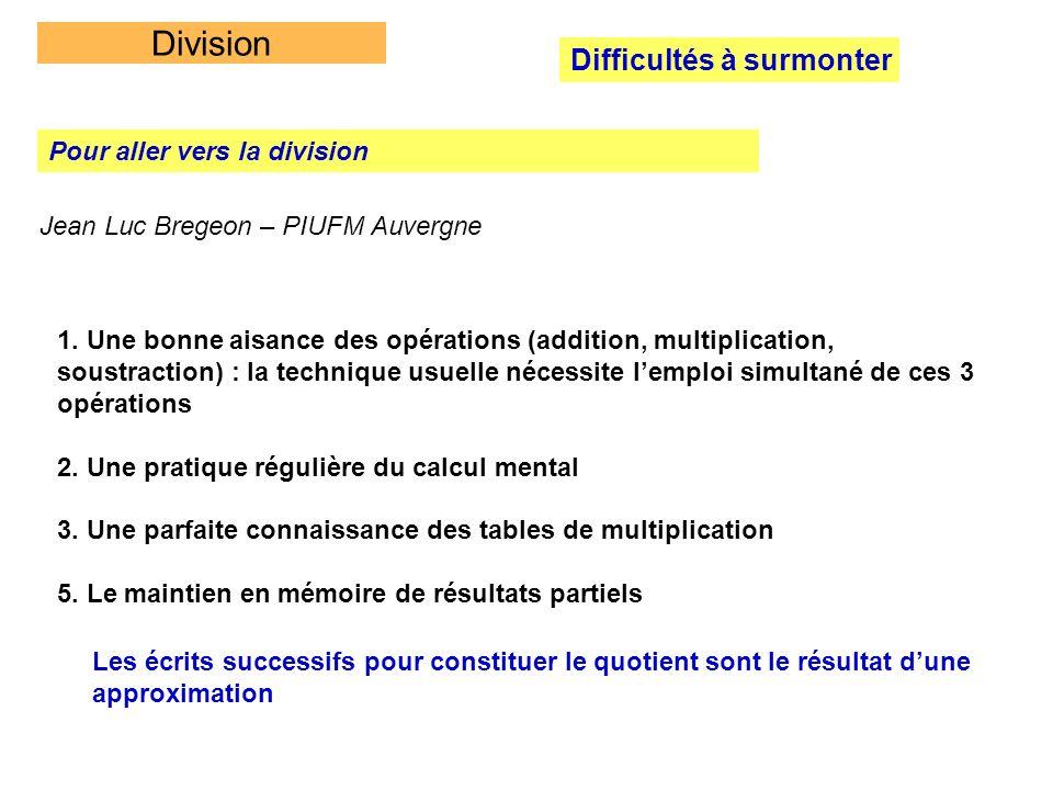 Division Difficultés à surmonter Pour aller vers la division Jean Luc Bregeon – PIUFM Auvergne 1. Une bonne aisance des opérations (addition, multipli
