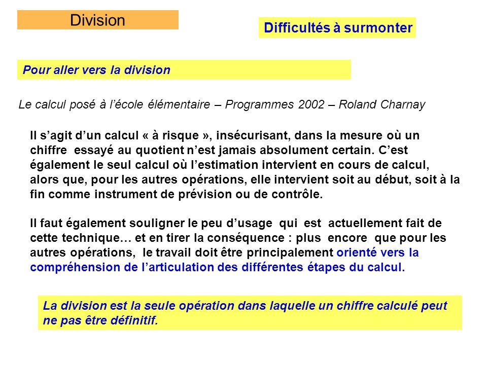 Division Difficultés à surmonter Pour aller vers la division Le calcul posé à lécole élémentaire – Programmes 2002 – Roland Charnay La division est la
