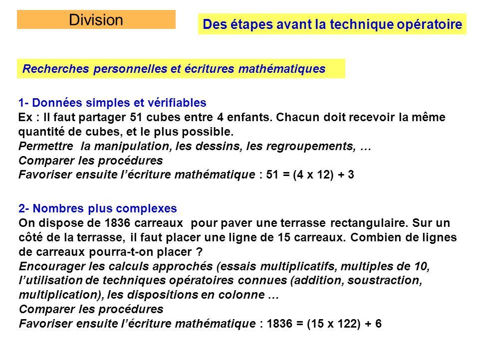Division Des étapes avant la technique opératoire Recherches personnelles et écritures mathématiques 1- Données simples et vérifiables Ex : Il faut pa