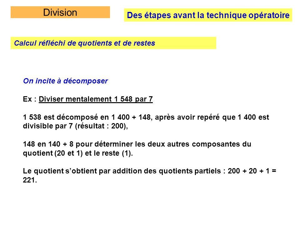 Division Des étapes avant la technique opératoire Calcul réfléchi de quotients et de restes On incite à décomposer Ex : Diviser mentalement 1 548 par