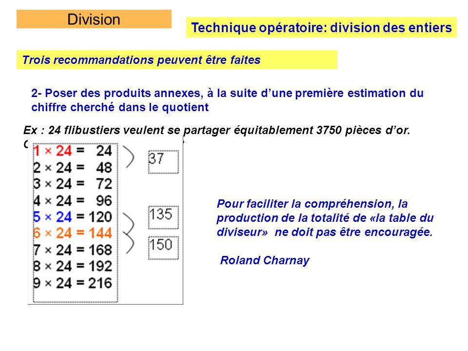 Division Technique opératoire: division des entiers Trois recommandations peuvent être faites 2- Poser des produits annexes, à la suite dune première