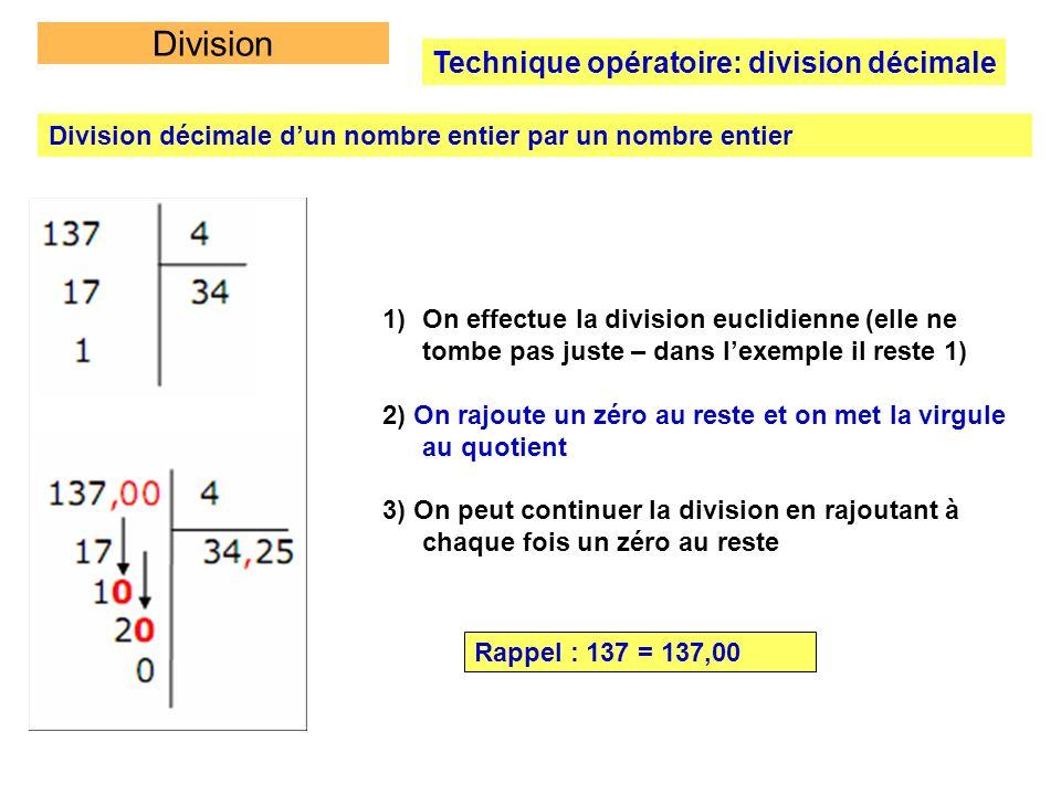 Division Technique opératoire: division décimale Division décimale dun nombre entier par un nombre entier 1)On effectue la division euclidienne (elle