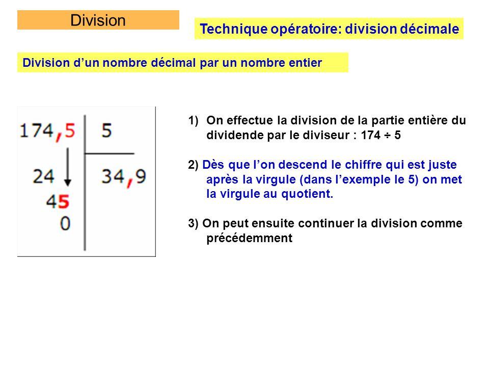 Division Technique opératoire: division décimale Division dun nombre décimal par un nombre entier 1)On effectue la division de la partie entière du di