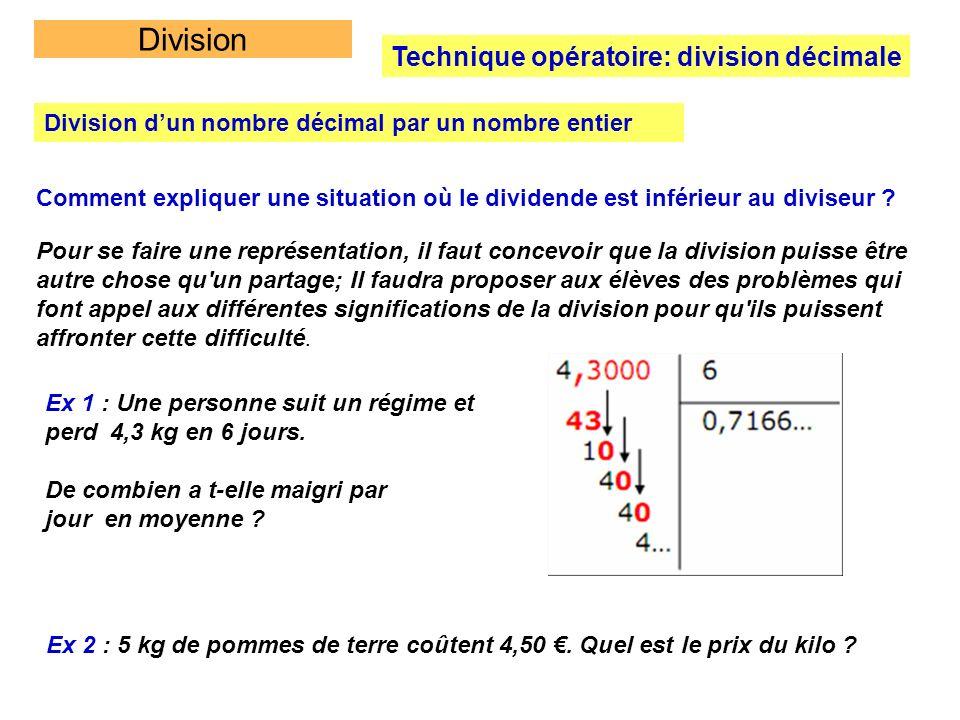 Division Technique opératoire: division décimale Division dun nombre décimal par un nombre entier Comment expliquer une situation où le dividende est