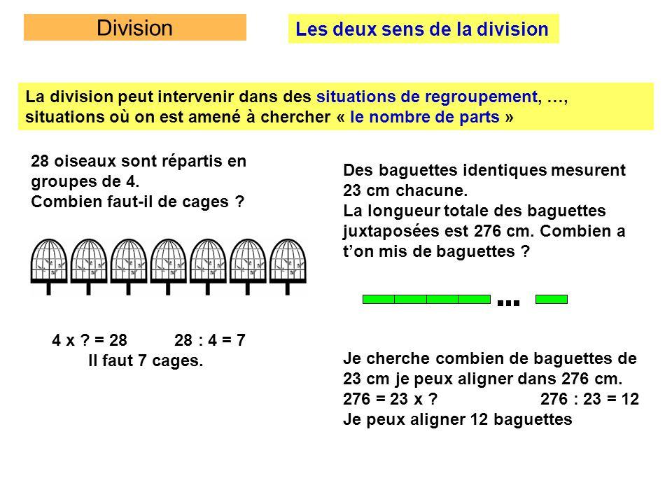 Division Les deux sens de la division La division peut intervenir dans des situations de regroupement, …, situations où on est amené à chercher « le n