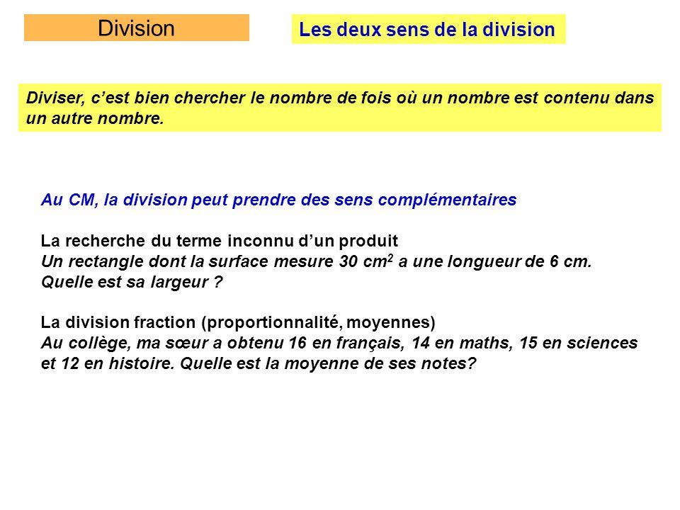 Division Les deux sens de la division Diviser, cest bien chercher le nombre de fois où un nombre est contenu dans un autre nombre. Au CM, la division