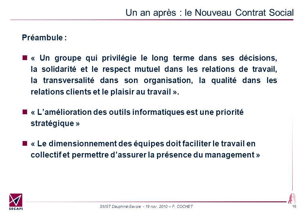 SMST Dauphiné-Savoie - 19 nov. 2010 – F. COCHET 16 Un an après : le Nouveau Contrat Social Préambule : « Un groupe qui privilégie le long terme dans s