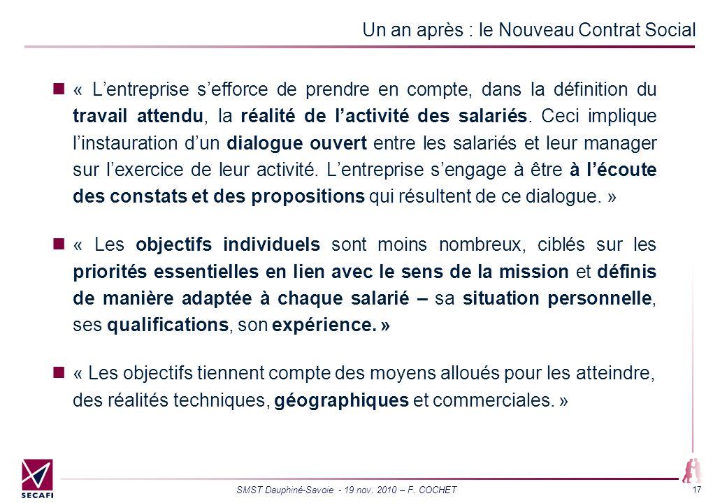 SMST Dauphiné-Savoie - 19 nov. 2010 – F. COCHET 17 Un an après : le Nouveau Contrat Social « Lentreprise sefforce de prendre en compte, dans la défini
