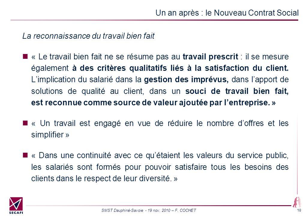 SMST Dauphiné-Savoie - 19 nov. 2010 – F. COCHET 18 Un an après : le Nouveau Contrat Social La reconnaissance du travail bien fait « Le travail bien fa