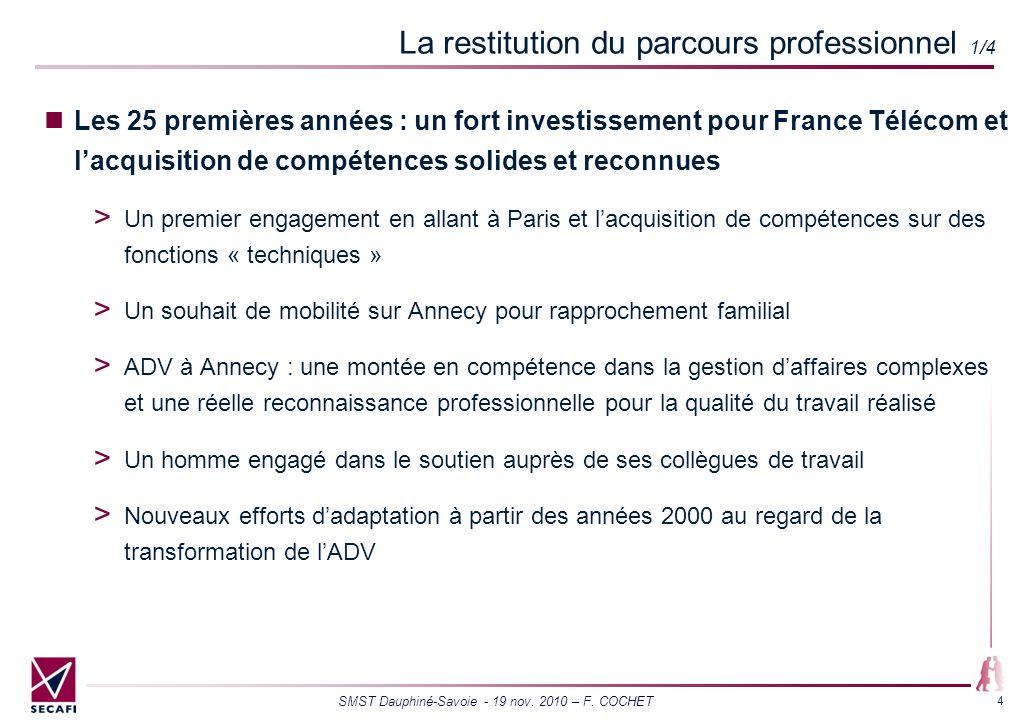 SMST Dauphiné-Savoie - 19 nov. 2010 – F. COCHET 4 La restitution du parcours professionnel 1/4 Les 25 premières années : un fort investissement pour F