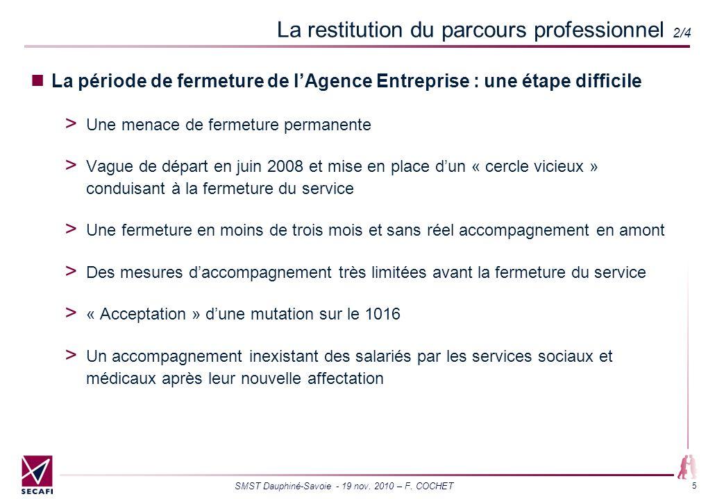 SMST Dauphiné-Savoie - 19 nov. 2010 – F. COCHET 5 La restitution du parcours professionnel 2/4 La période de fermeture de lAgence Entreprise : une éta