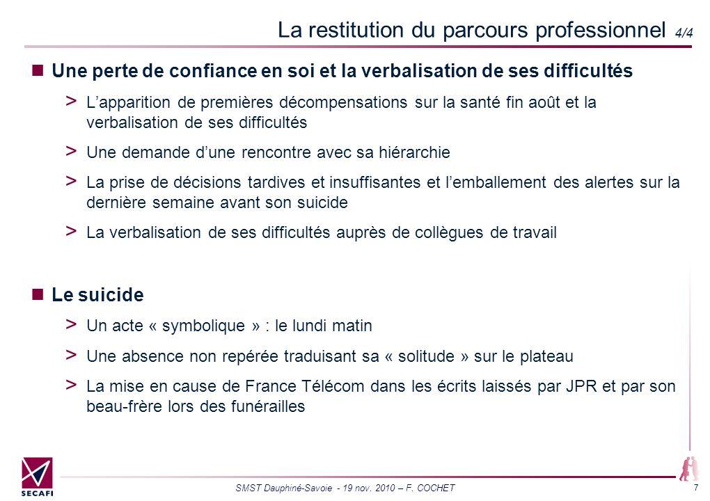 SMST Dauphiné-Savoie - 19 nov. 2010 – F. COCHET 7 La restitution du parcours professionnel 4/4 Une perte de confiance en soi et la verbalisation de se