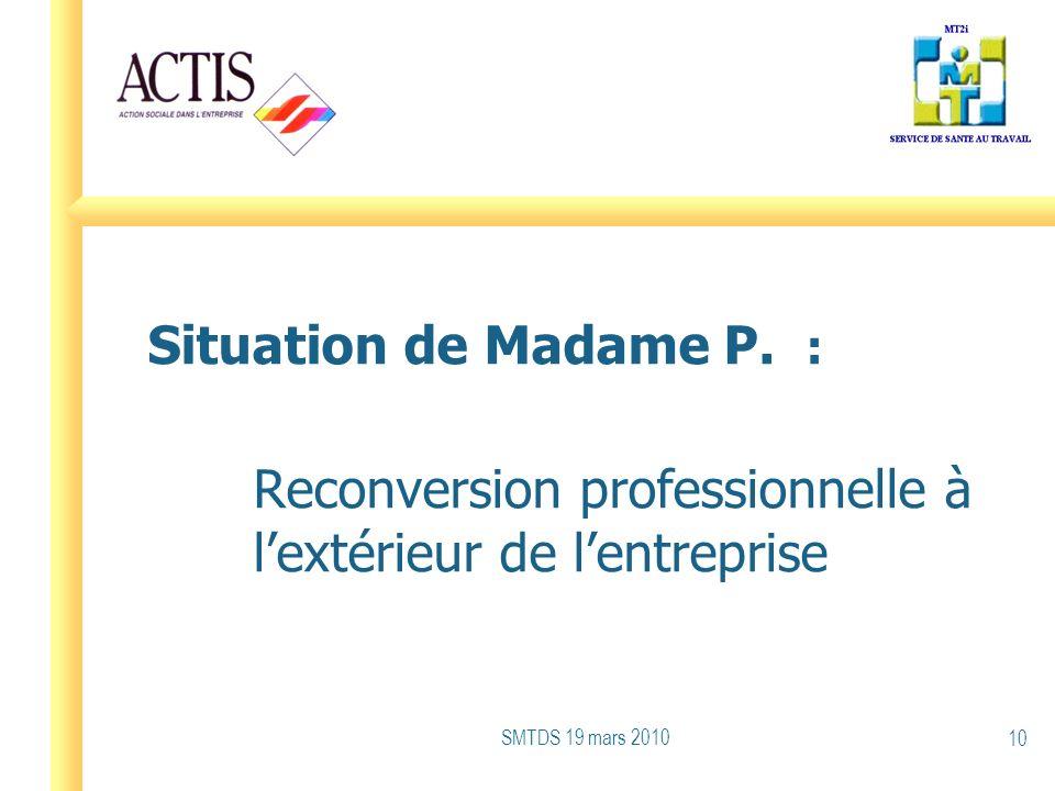 Situation de Madame P. : Reconversion professionnelle à lextérieur de lentreprise SMTDS 19 mars 2010 10