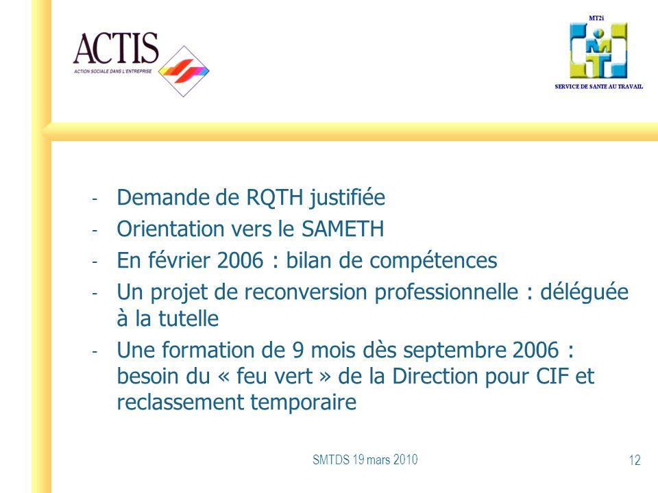 - Demande de RQTH justifiée - Orientation vers le SAMETH - En février 2006 : bilan de compétences - Un projet de reconversion professionnelle : délégu