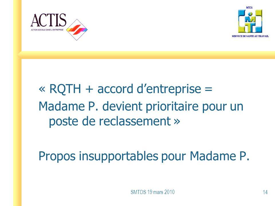 « RQTH + accord dentreprise = Madame P. devient prioritaire pour un poste de reclassement » Propos insupportables pour Madame P. SMTDS 19 mars 2010 14