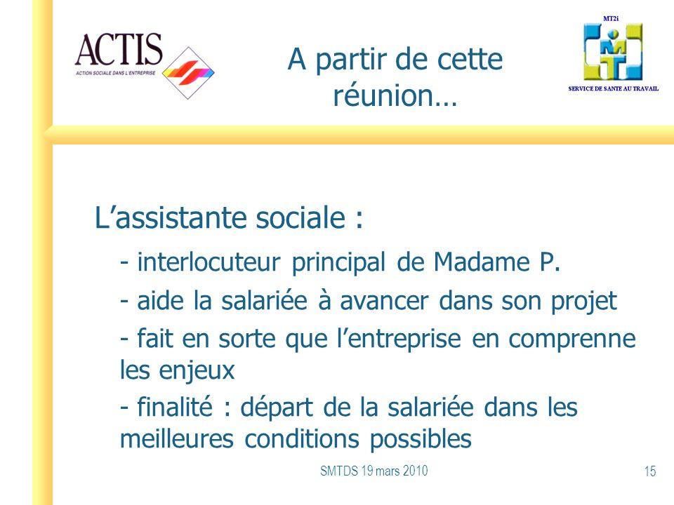 A partir de cette réunion… Lassistante sociale : - interlocuteur principal de Madame P. - aide la salariée à avancer dans son projet - fait en sorte q