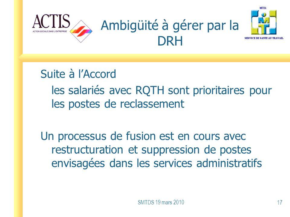 Ambigüité à gérer par la DRH Suite à lAccord les salariés avec RQTH sont prioritaires pour les postes de reclassement Un processus de fusion est en co