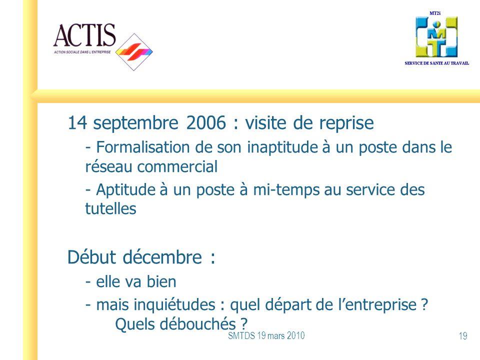 14 septembre 2006 : visite de reprise - Formalisation de son inaptitude à un poste dans le réseau commercial - Aptitude à un poste à mi-temps au servi