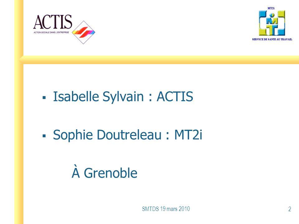 Isabelle Sylvain : ACTIS Sophie Doutreleau : MT2i À Grenoble SMTDS 19 mars 2010 2