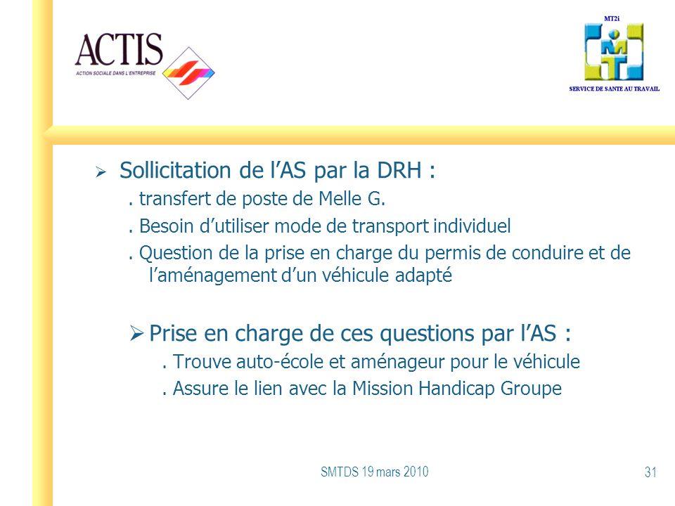 Sollicitation de lAS par la DRH :. transfert de poste de Melle G.. Besoin dutiliser mode de transport individuel. Question de la prise en charge du pe