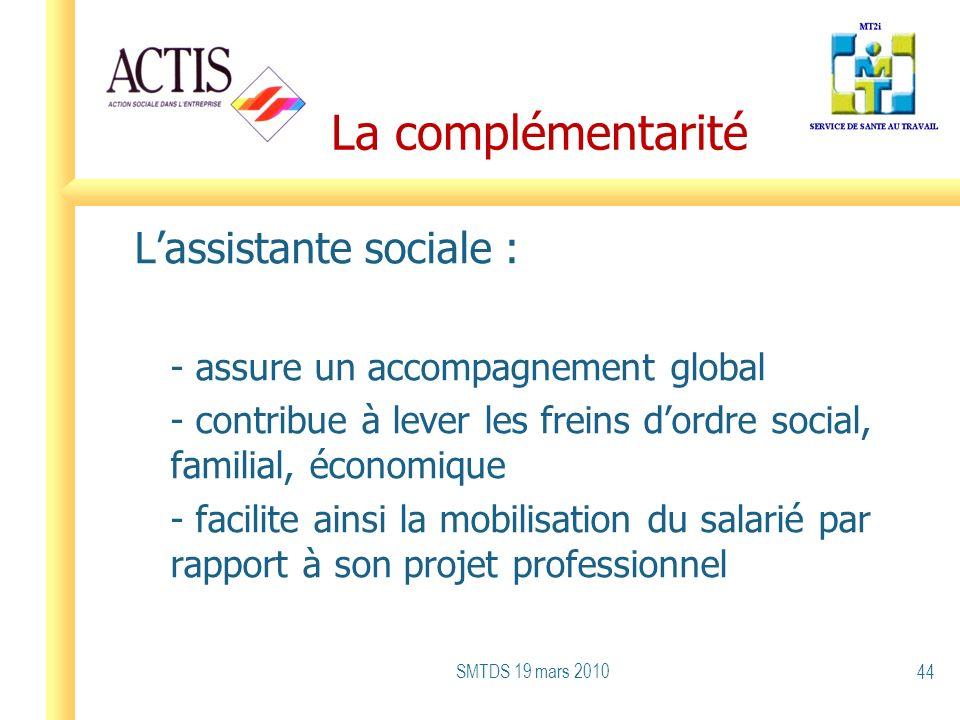 La complémentarité Lassistante sociale : - assure un accompagnement global - contribue à lever les freins dordre social, familial, économique - facili