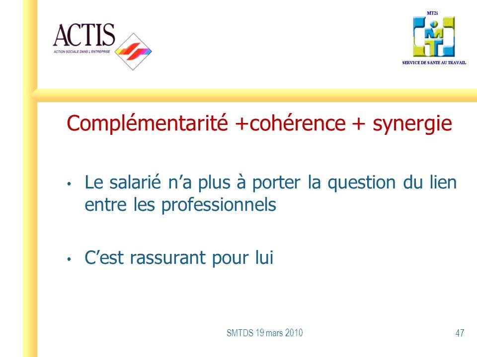 Complémentarité +cohérence + synergie Le salarié na plus à porter la question du lien entre les professionnels Cest rassurant pour lui SMTDS 19 mars 2