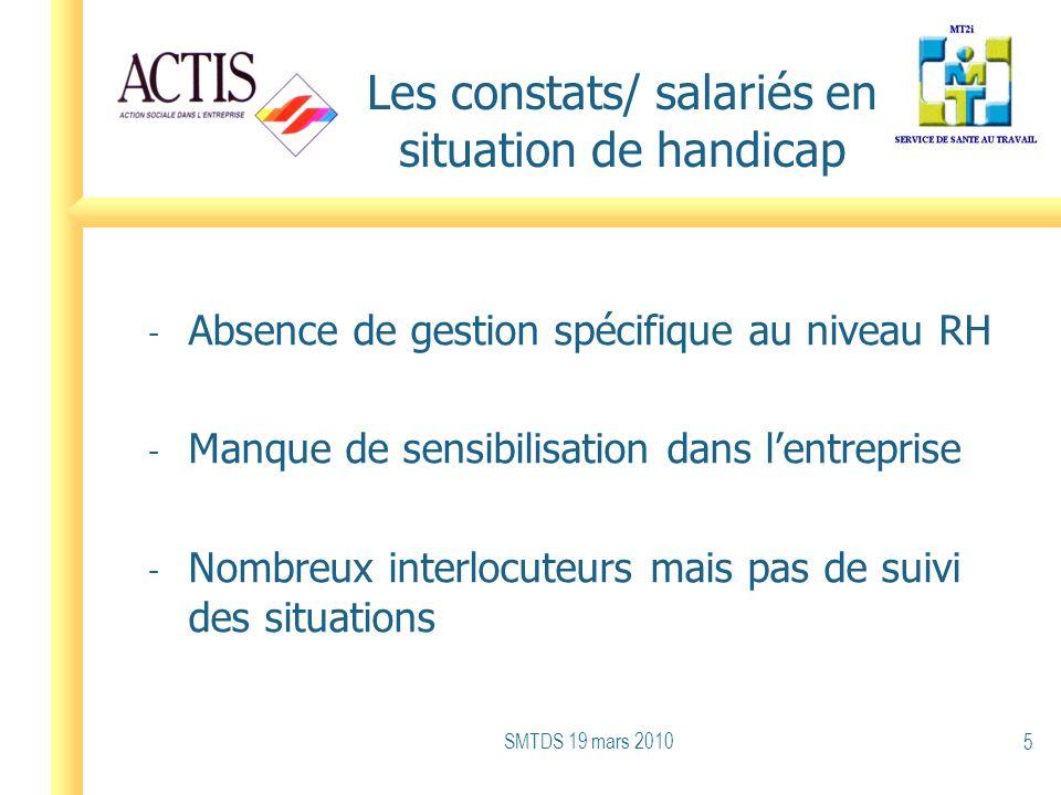 Les constats/ salariés en situation de handicap - Absence de gestion spécifique au niveau RH - Manque de sensibilisation dans lentreprise - Nombreux i