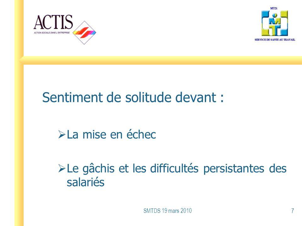 Sentiment de solitude devant : La mise en échec Le gâchis et les difficultés persistantes des salariés SMTDS 19 mars 2010 7
