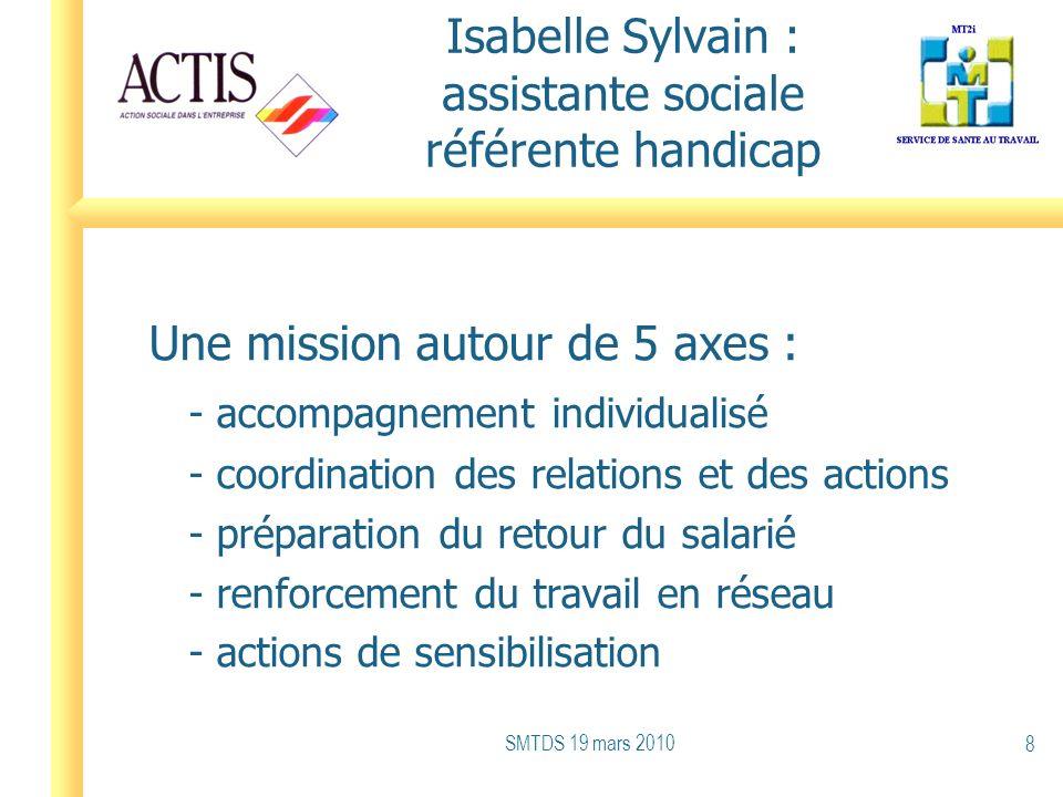 Isabelle Sylvain : assistante sociale référente handicap Une mission autour de 5 axes : - accompagnement individualisé - coordination des relations et