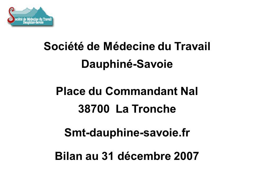 Société de Médecine du Travail Dauphiné-Savoie Place du Commandant Nal 38700 La Tronche Smt-dauphine-savoie.fr Bilan au 31 décembre 2007
