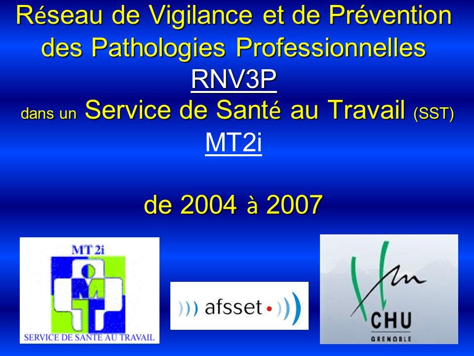 1 R é seau de Vigilance et de Prévention des Pathologies Professionnelles RNV3P dans un Service de Sant é au Travail (SST) de 2004 à 2007 R é seau de Vigilance et de Prévention des Pathologies Professionnelles RNV3P dans un Service de Sant é au Travail (SST) MT2i de 2004 à 2007