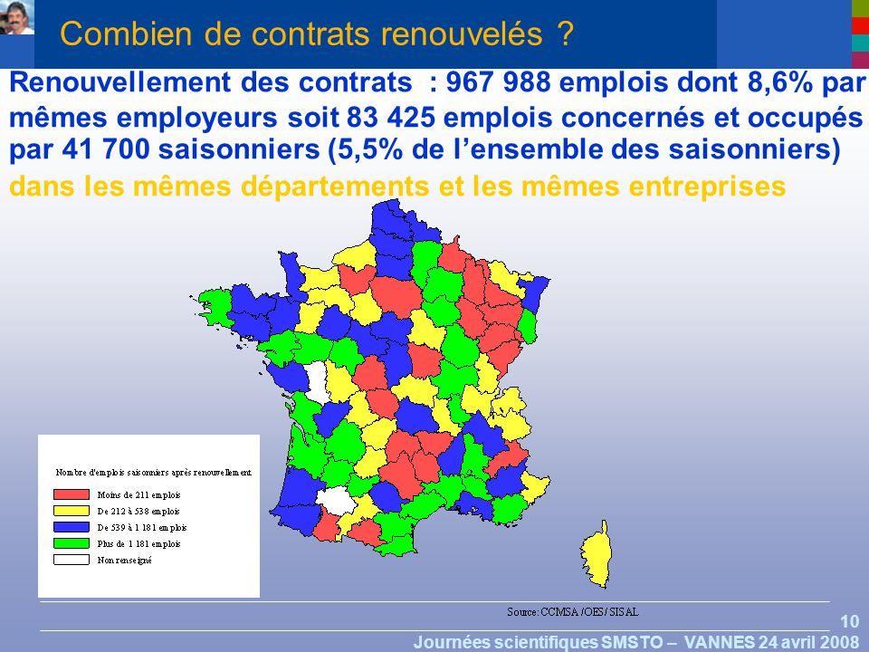 10 Journées scientifiques SMSTO – VANNES 24 avril 2008 Combien de contrats renouvelés .
