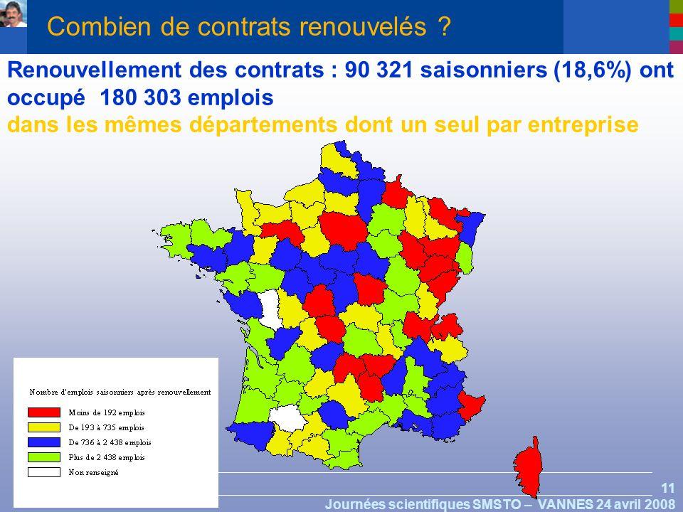 11 Journées scientifiques SMSTO – VANNES 24 avril 2008 Renouvellement des contrats : 90 321 saisonniers (18,6%) ont occupé 180 303 emplois dans les mêmes départements dont un seul par entreprise Combien de contrats renouvelés ?