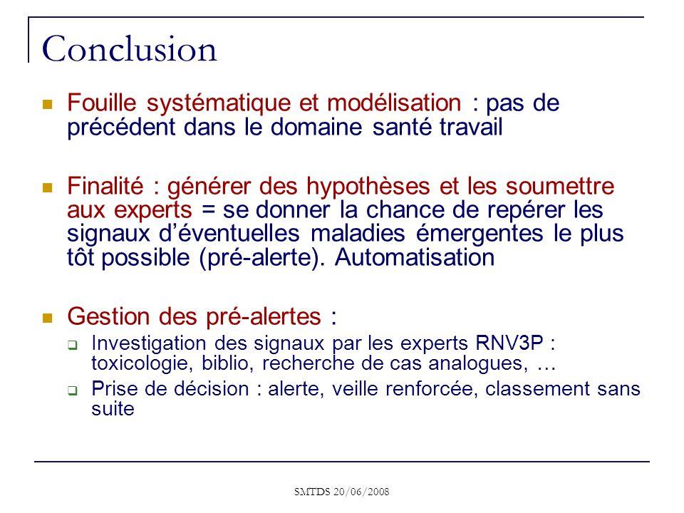 SMTDS 20/06/2008 Conclusion Fouille systématique et modélisation : pas de précédent dans le domaine santé travail Finalité : générer des hypothèses et