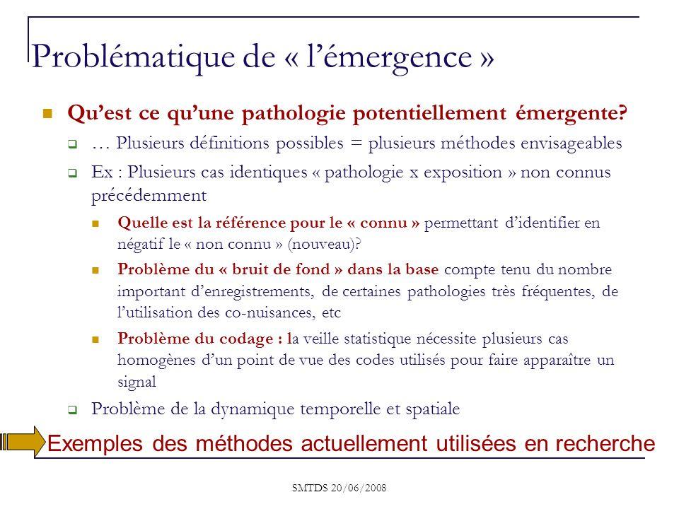 Quest ce quune pathologie potentiellement émergente? … Plusieurs définitions possibles = plusieurs méthodes envisageables Ex : Plusieurs cas identique