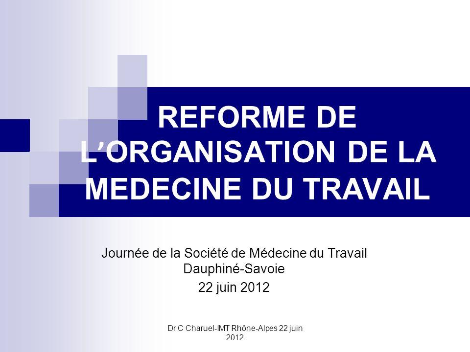Dr C Charuel-IMT Rhône-Alpes 22 juin 2012 REFORME DE L ORGANISATION DE LA MEDECINE DU TRAVAIL Journée de la Société de Médecine du Travail Dauphiné-Sa