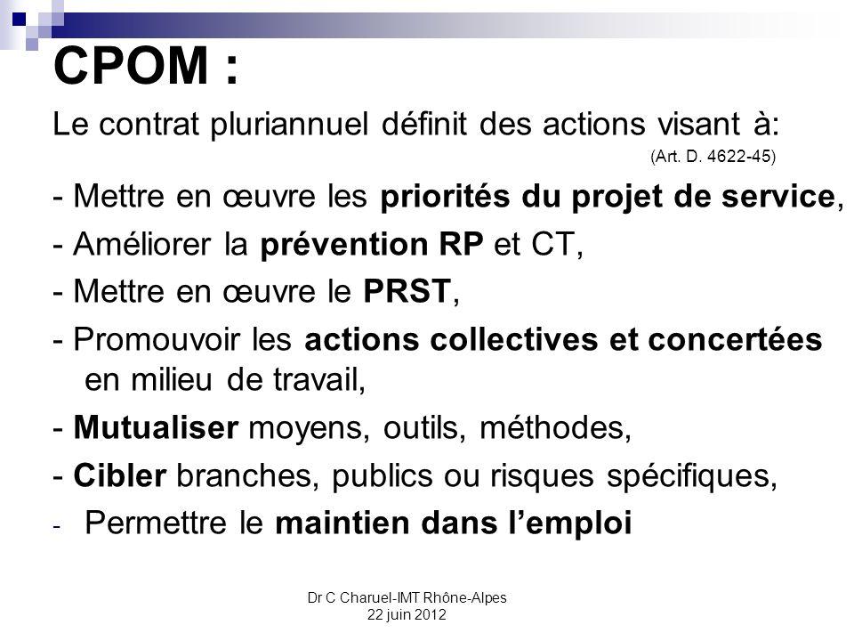 Dr C Charuel-IMT Rhône-Alpes 22 juin 2012 CPOM : Le contrat pluriannuel définit des actions visant à: (Art. D. 4622-45) - Mettre en œuvre les priorité