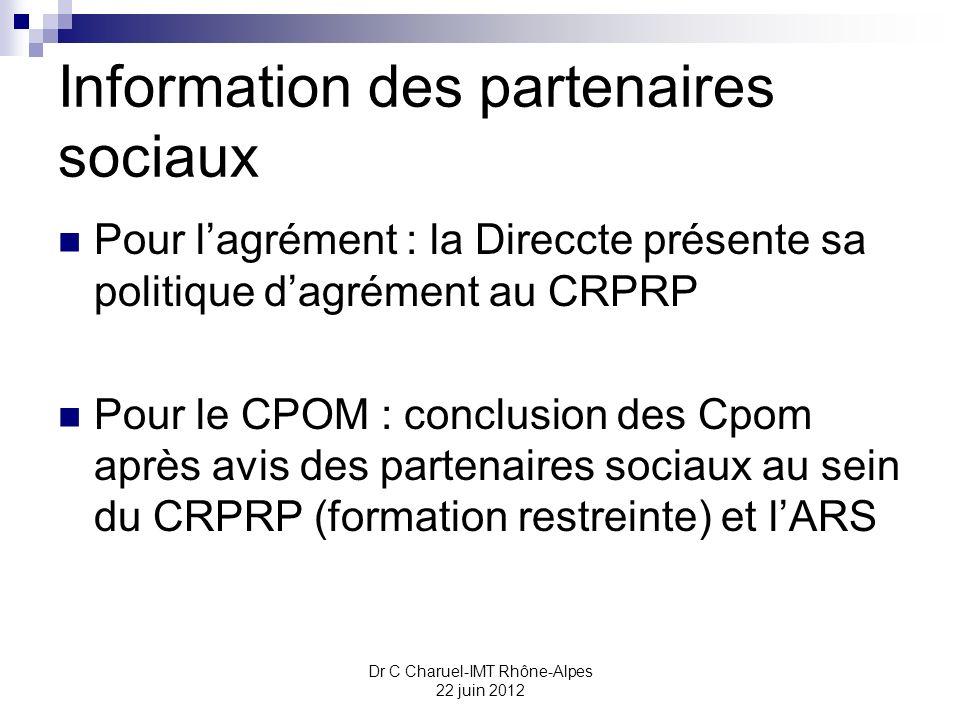 Information des partenaires sociaux Pour lagrément : la Direccte présente sa politique dagrément au CRPRP Pour le CPOM : conclusion des Cpom après avi