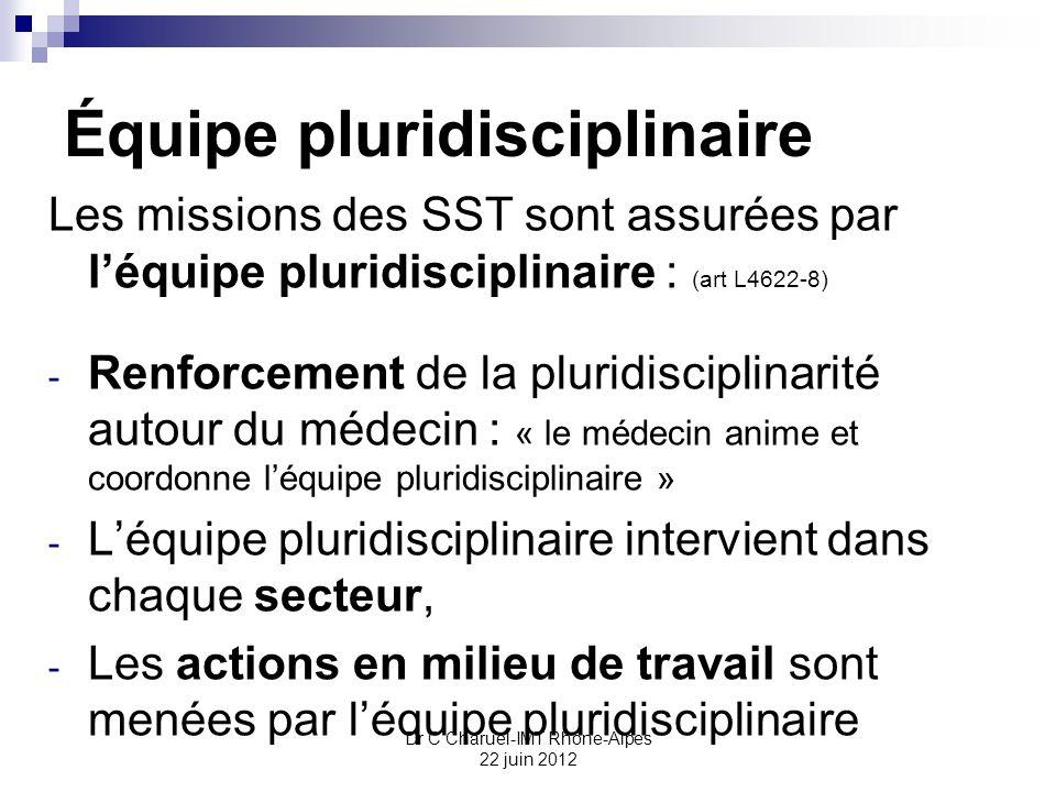 Dr C Charuel-IMT Rhône-Alpes 22 juin 2012 Équipe pluridisciplinaire Les missions des SST sont assurées par léquipe pluridisciplinaire : (art L4622-8)