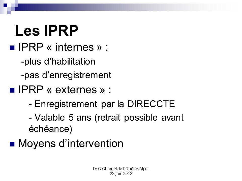 Dr C Charuel-IMT Rhône-Alpes 22 juin 2012 Les IPRP IPRP « internes » : -plus dhabilitation -pas denregistrement IPRP « externes » : - Enregistrement p