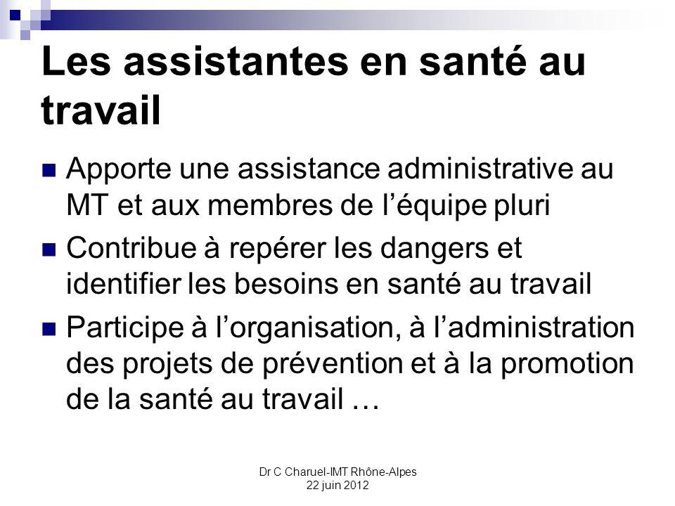 Les assistantes en santé au travail Apporte une assistance administrative au MT et aux membres de léquipe pluri Contribue à repérer les dangers et ide
