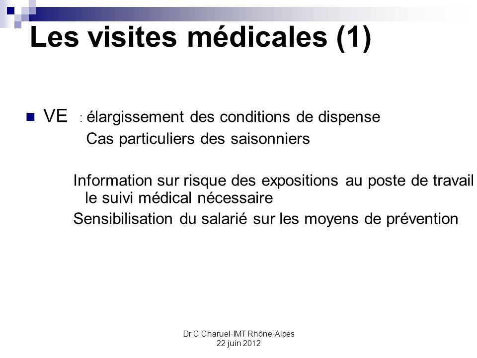 Dr C Charuel-IMT Rhône-Alpes 22 juin 2012 Les visites médicales (1) VE : élargissement des conditions de dispense Cas particuliers des saisonniers Inf