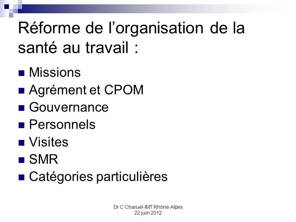 Dr C Charuel-IMT Rhône-Alpes 22 juin 2012 Réforme de lorganisation de la santé au travail : Missions Agrément et CPOM Gouvernance Personnels Visites S