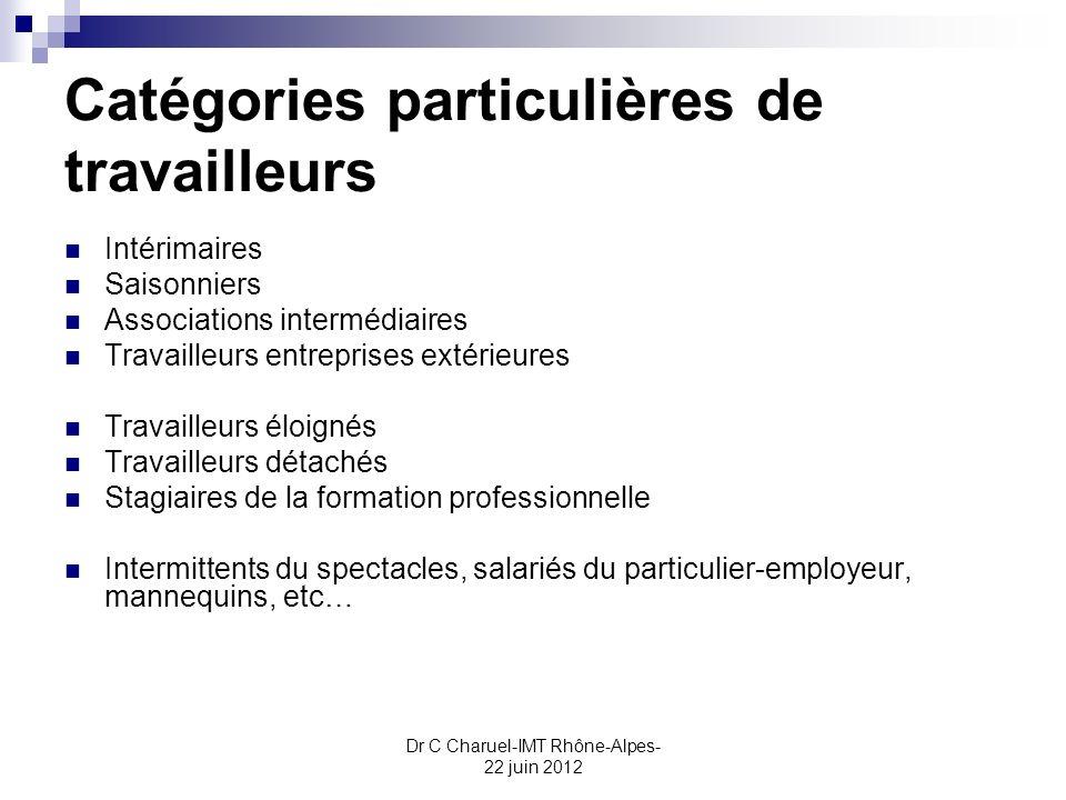 Dr C Charuel-IMT Rhône-Alpes- 22 juin 2012 Catégories particulières de travailleurs Intérimaires Saisonniers Associations intermédiaires Travailleurs