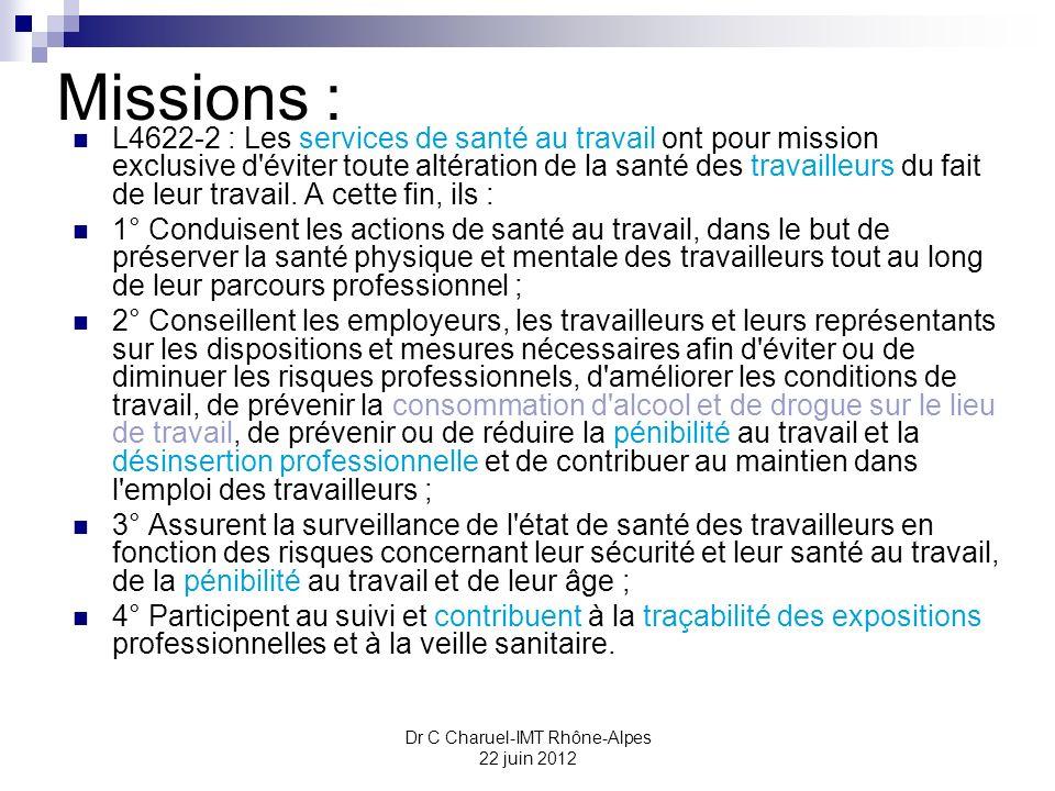 Dr C Charuel-IMT Rhône-Alpes 22 juin 2012 Priorités des SST : (L4622-10) Les priorités des services de santé au travail sont précisées, -le respect des missions générales prévues à l article L.